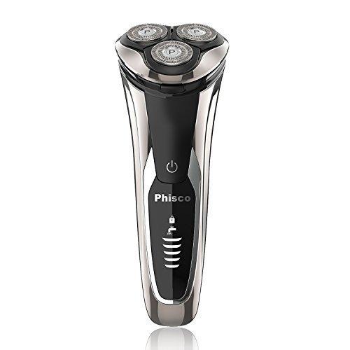 Phisco Elektrorasierer Rasierer Rasierapparat für Herren mit Pop-up Trimmer IPX7 Wasserdicht Nass- & Trocken, Reiseverriegelung & Digital Power-Anzeige 8108 (silber)