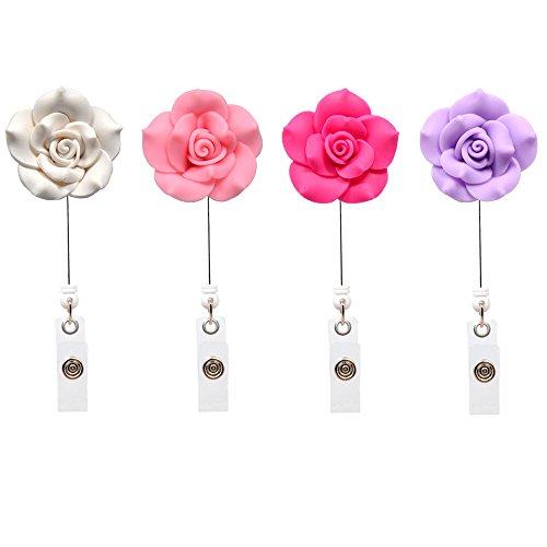 Qinsuee Rose Badge Halter Ausweishalter mit Gürtelclip für ID-Abzeichen-Halter(4 Stück Lichtfarbe)