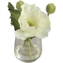BELLAFIORA 20AMAZ041504 - Flor artificial, amapola, color crema