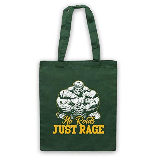 No Roids Just Rage Bodybuilding Culture Slogan Umhangetaschen Dunkelgrun
