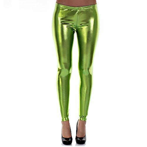 DISTRESSED Metallic Shiny Glanz Leggings Wet Look S~M 34,36,38 neongruen