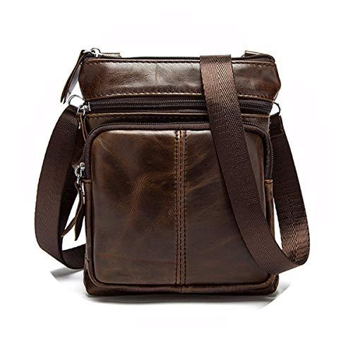 OURBAG Herrentasche Kleine Leder Schultertasche Umhängetasche Handtasche Messenger bag mit Reißverschluss Kaffee