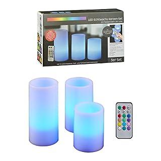Cepewa 28373 LED Kerze Echtwachs Set 15/12,5/10 cm Kerzen Farbwechsel Fernbedienung