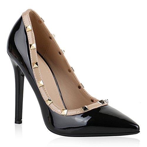 Elegante Damen High Heels Spitze Pumps Lack Stiletto Samt Glitzer Nieten Abend Business Schuhe 141241 Schwarz Nieten 39 Flandell