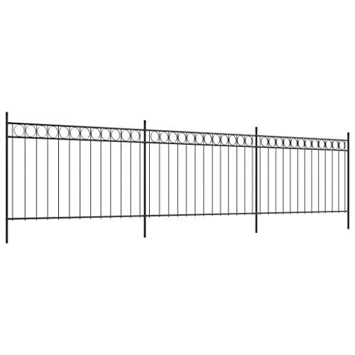 Festnight Zaunfelder mit Pfosten | Dekorativer Zaun | Stahl Gartenzaun | Metallzaun Zaunelemente | Schwarz Stahl 6 x 1,3 m
