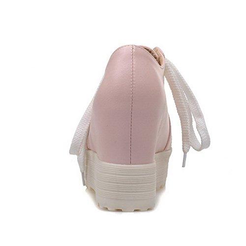 VogueZone009 Femme Lacet Rond à Talon Haut Couleur Unie Pu Cuir Chaussures Légeres Rose