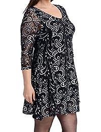 fd480ee55a2001 Magna Damen Tunika Kleid festlich-Spitze Pailletten- - 44 46 -  schlankmachend- Silber