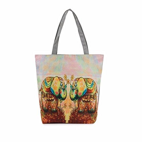 BZLine® Femme Sac à Main en Toile | Sacs à épaule à Motif d'éléphant | Taille: 37×8×27CM A