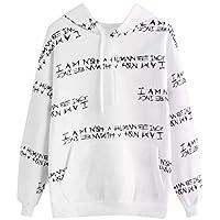 Hanomes Damen pullover, Womens Casual Gedruckten Buchstaben Langarm-Sweatshirt mit Kapuze Pullover Tops Bluse preisvergleich bei billige-tabletten.eu