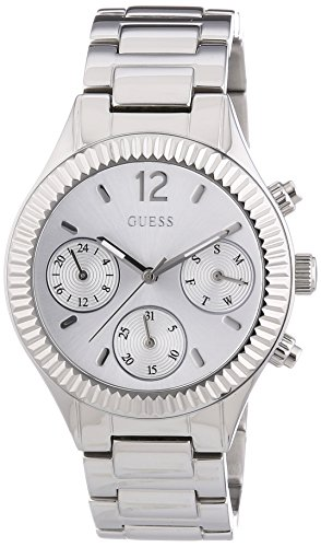 Guess Women's Quartz Watch with Silver Dial Chronograph Display and Stainless steel gun metal - W0323L1
