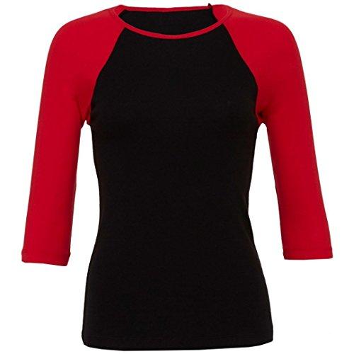 Bella più canvas Baby a costine 3/4Contrast a maniche raglan t-shirt Black / Red