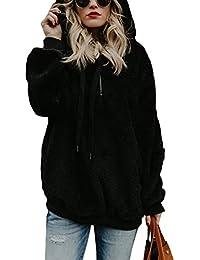 DOKOTOO Womens Fuzzy Casual Loose Sweatshirt Fleece Hoodies with Pockets S-XXL