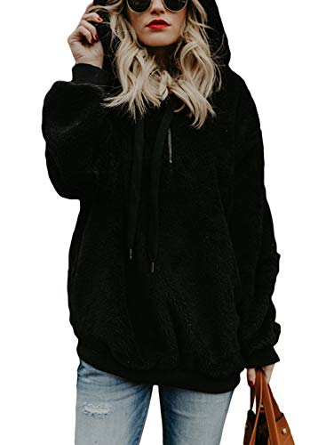 DOKOTOO Womens Fuzzy Casual Loose Sweatshirt Fleece Hoodies with Pockets S-XXL