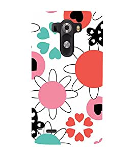 ANIMATED FLOWERS AND BUTTERFLIES PATTERN ON A WHITE BACKGROUND 3D Hard Polycarbonate Designer Back Case Cover for LG G3 :: LG G3 D855