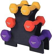 Songmics SYL69BK Korte halterset, hexagon, met halterstandaard, 2 x 1 kg, 2 x 1,5 kg, 2 x 2 kg, matte afwerking, neopreencoa