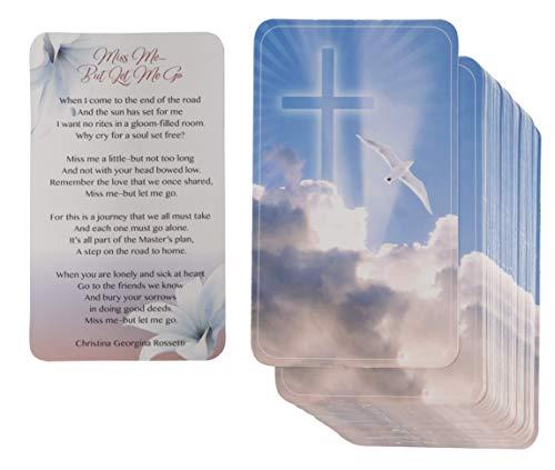 Trauerkarten - 100 Stück Trauerkarten mit Gedicht zur Feier des Lebens Gedenkdienst, Komfort und Gedenkkarte für Beerdigung, 6,3 x 10,2 cm