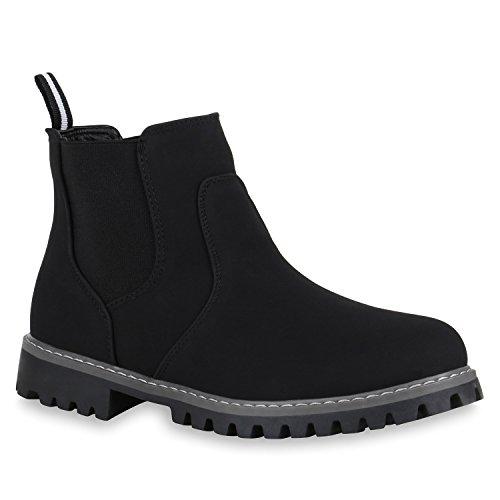 Stiefelparadies Herren Schuhe Chelsea Boots Leicht Gefütterte Wildleder-Optik 150046 Schwarz Schwarz 42 Flandell