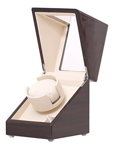 Pateker® Ebony Wood Finish Single Watch Winder, White Leather Display Box Case [100% Handmade]