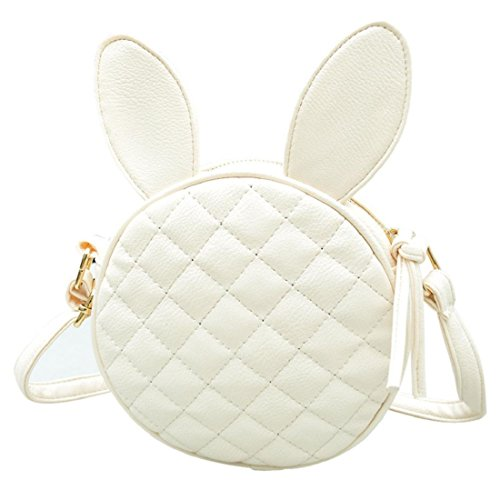 Vovotrade® Orecchie di coniglio donne ragazza mini borsa rotonda borsa di cuoio (Bianco)