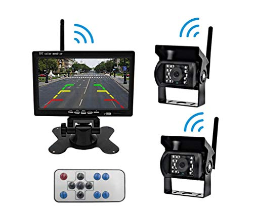 Truck Wireless Backup Camera and Monitor Kit, Easy Installation of Front and Rear Cameras, geeignet für LKW und LKW RV Farm Vehicle School Bus (Rv-wireless-backup-kamera)