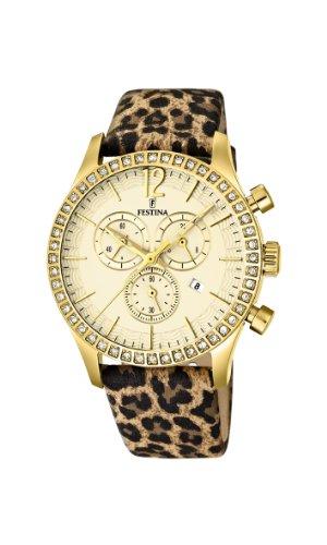 Festina - F16605/6 - Montre Femme - Quartz Chronographe - Chronographe - Bracelet Cuir Multicolore