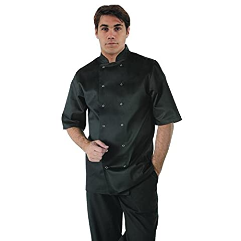 Whites Chefs Apparel A439-XL Vegas Chef Jacket, Short Sleeve, Black