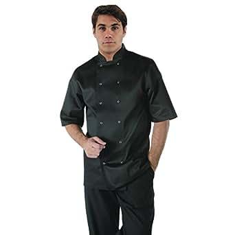 Whites Chefs Apparel A439-XS Vegas Chef Jacket, Short Sleeve, Black
