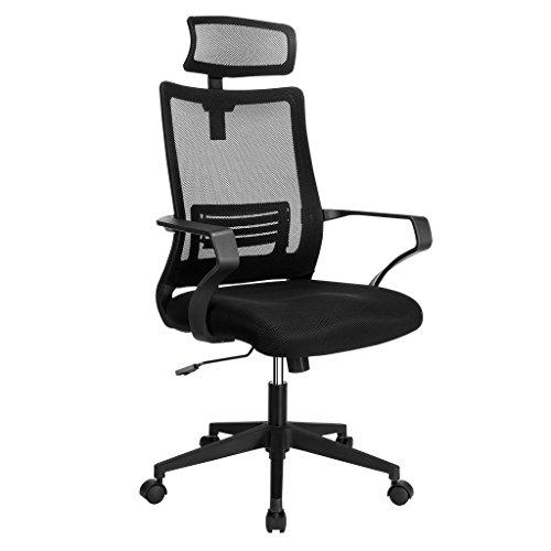 Langria sedia da ufficio a rete con schienale alto, sedia girevole da scrivania computerizzata, design ergonomico con supporto lombare regolabile e poggiatesta, nero