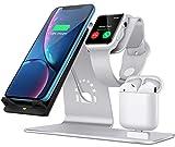 Bestand 3 en 1 Apple iWatch de Aluminio, Zona de Carga para AirPods, Cargador inalámbrico de Carga rápida para iPhone X/8/7/6/6s Plus, Plata (Airpods Charging Case Not Included)