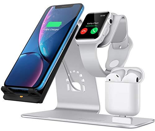 Bestand 3 en 1 Aluminium Apple iWatch Support, Airpods Chargeur Station, Qi Rapide Chargeur Dock Sans Fil pour iPhone 7 / 6s Plus et autres appareils Qi-activés, Arg