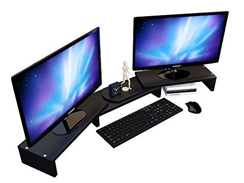 Dual Computer-schreibtisch (Verstellbarer Computer-Monitor-Ständer für 2, Dual, Doppel, 3, Dreifach, Multi, mehrere Desktop-Monitore, Laptop-Eckständer, Lift Organizer, langes Holz, schwarzes Regal für Schreibtisch)