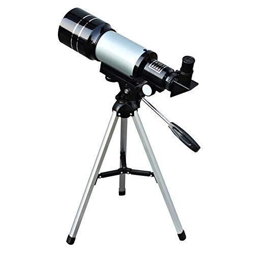 Teleskop 70mm Öffnung und 300 mm Brennweite Sternenteleskop mit Stativ für Kinder Anfänger,Schwarz