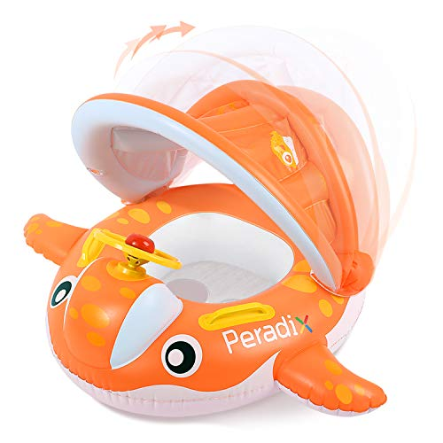 Peradix Baby Swimming Pool Float Boat Trainer Seat Inflatable Swim Rings with Repair Patch and Adjustable Sunshade Kids Inflatable Pool Toys for 6 to 36 Months (25Kg) (Orange-With Repaire Patch)