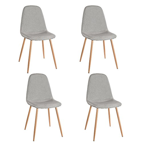 Panana 4x Dining Chairs Retro Seat Fabric Set Metal Leg Kitchen Dining Room Grey