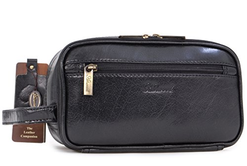 Borsa Toiletry/Wash Bag/Cosmetici beauty case da uomo in pelle'Chelsea' - 2080 - Nero