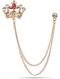 Marvel Panjatan Men's Brass Royal Crown With Golden Chain Pin Brooch For Unisex