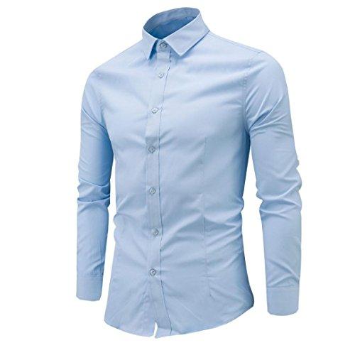 Uomo camicie maniche lunghe moda men shirts slim fit causal long sleves fashion,yanhoo® mens fashion slim shirt manica lunga camicia casual (m, azzurro)