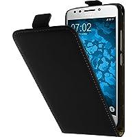 PhoneNatic Kunst-Lederhülle für Lenovo Moto E4 (EU Version) Flip-Case schwarz + 2 Schutzfolien