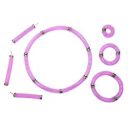 Retro Schmuck rosa 12 Steckfedern Ohrring Ring Armband Halskette ()