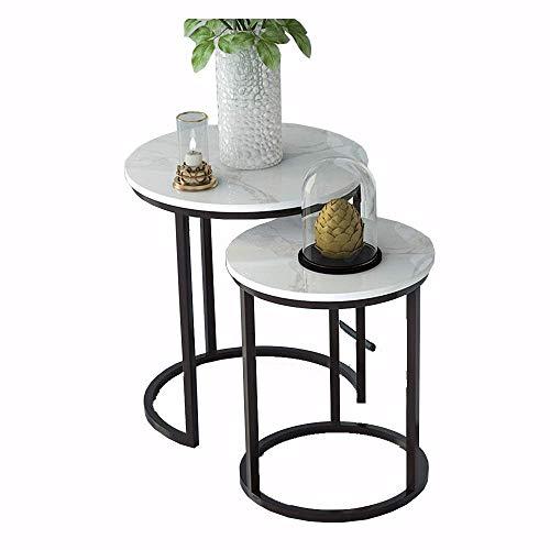 YueQiSong Moderner Minimalistischer Marmor-Ecktisch-Nachttischkaffee-Tisch Der Kleinen Runden Runden Couchtischschmiedeeisentabelle, Weiß (Klapptisch Runde 48)