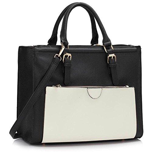 Trays for women (Braun) Haltegriffe Kunstleder Damenhandtaschen -Designer-Tasche Fronttasche Schwarz/Weiß