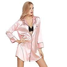 1fd4a52bee Vestido De Satén para Mujer Vestido De Noche Corto para Damas Cálido Basic  SL Shee Pijama