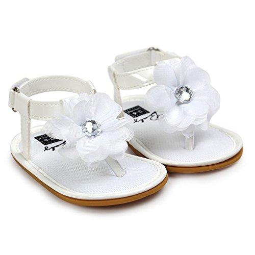 Preisvergleich Produktbild Vovotrade Blumen Perlen Kleinkind Prinzessin erste Wanderer Mädchen Kind Schuh Sandelholze (Size:12, Weiß)