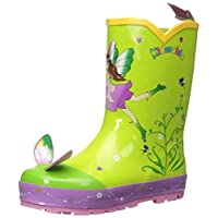 Kidorable Green Fairy Natural Rubber Rain Boots with Fun Flower Pull On Heel Tab, UK 10