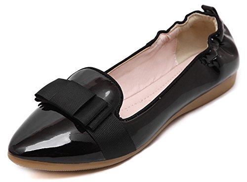 Bailarinas Apontou Negras Elástica Sapatilhas Senhoras Aisun Pintura Laço Fechadas 7wOq0t