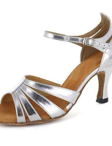 Sapatos Shangyi Dança (prata) Custom-couro-latina -personnalisables De Calcanhar De Prata