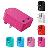 Ameego fast Speed Dual USB Plug, Foldable Universal 3.1AMP/3100mAh 2-Port USB Mains Charger Plug Adapter for All Mobile Phones & Tablets & Power banks & Speakers and other USB Devices (Pink)