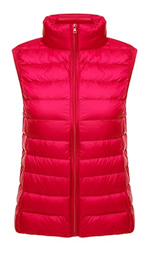 BELLOO Damen Outdoor Weste leicht zusammenklappbar Daunenweste,Rot,XL
