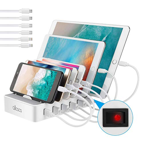 allcaca Station de Charge avec commutateur Chargeur USB Multiples 6 Ports Chargeur USB Support de Charge pour Apple iPhone iPad Samsung Smartphones Tablettes, 6 Cables Inclus, Blanc