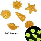 Decdeal 500pcs/Bag Glow in Dark Stone DIY Home Decor Luminous Pebbles Colorful Sea Conch Shell Starfish Rocks for Aquarium Fish Tank